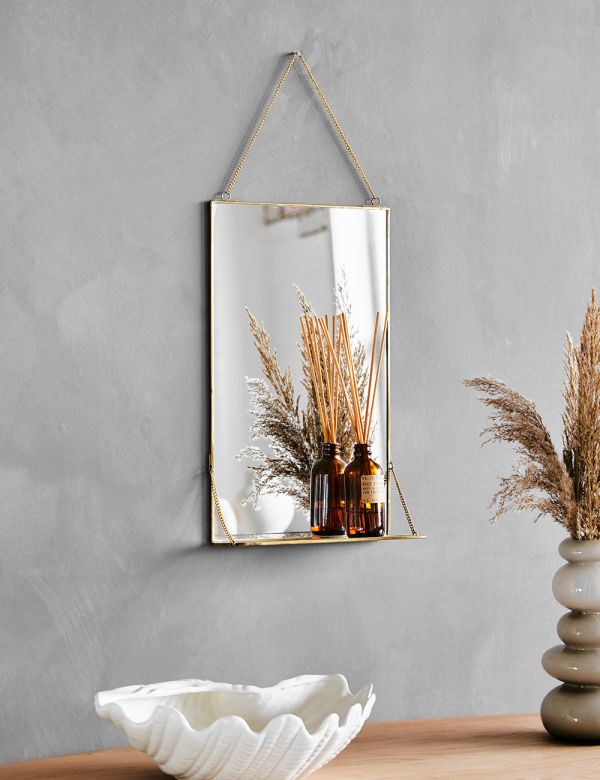 Kiko Antique Brass Mirror with Shelf