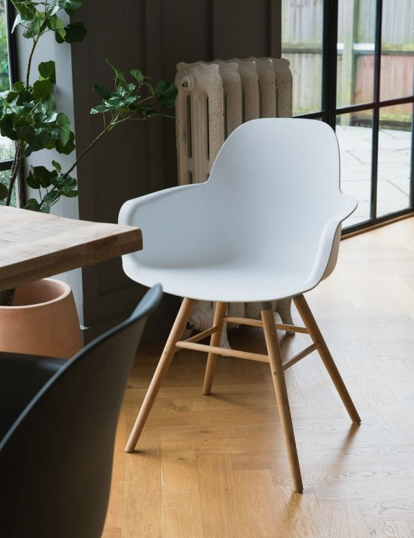 Albert Kuip Dining Chair  with Arms - White