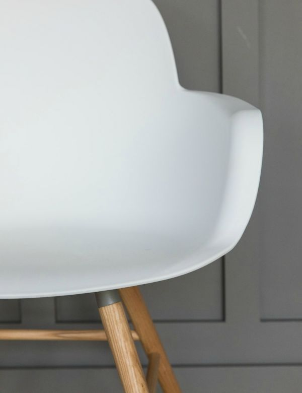 Albert Kuip Dining Chair with Arms - White by Zuiver