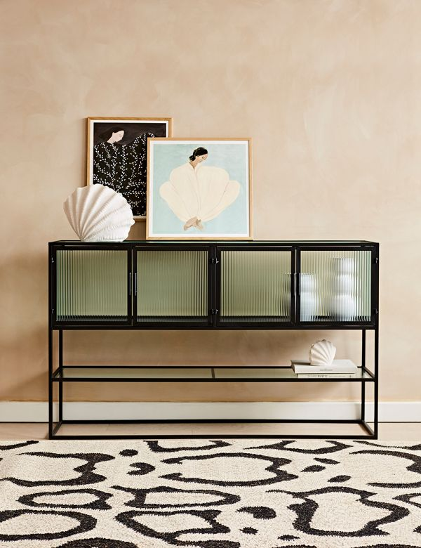 Kyoto Glass & Metal Large Console Cabinet