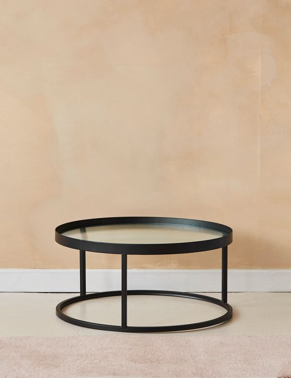 Kyoto Glass & Metal Round Coffee Table