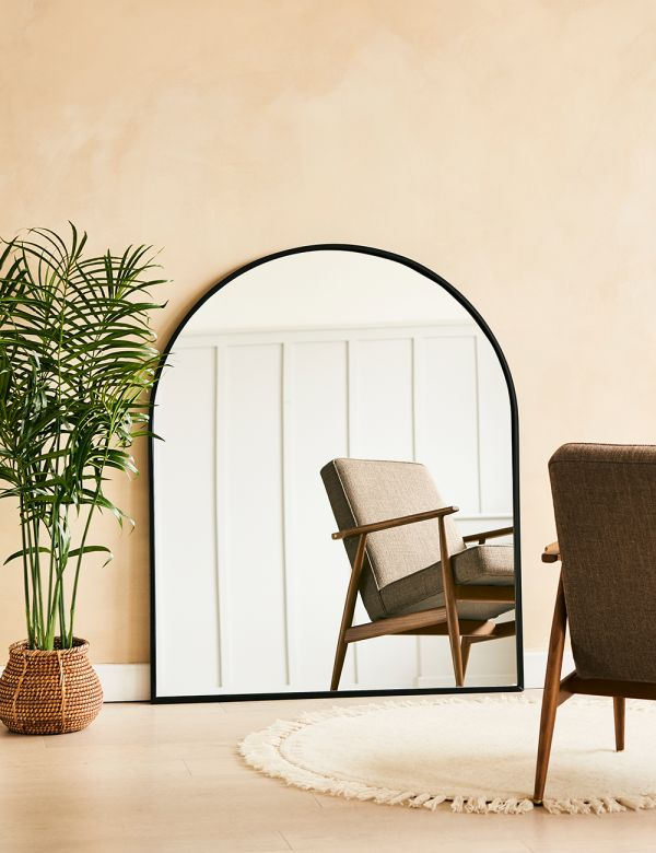 Large Black Arch Mirror