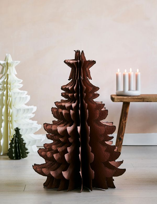 Large Copper Standing Paper Pulp Christmas Tree