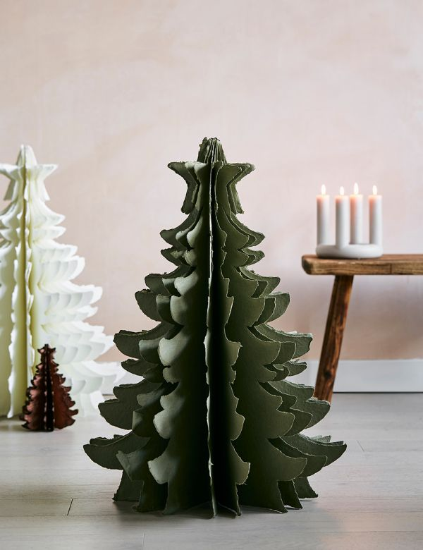 Large  Green Standing Paper Pulp Christmas Tree