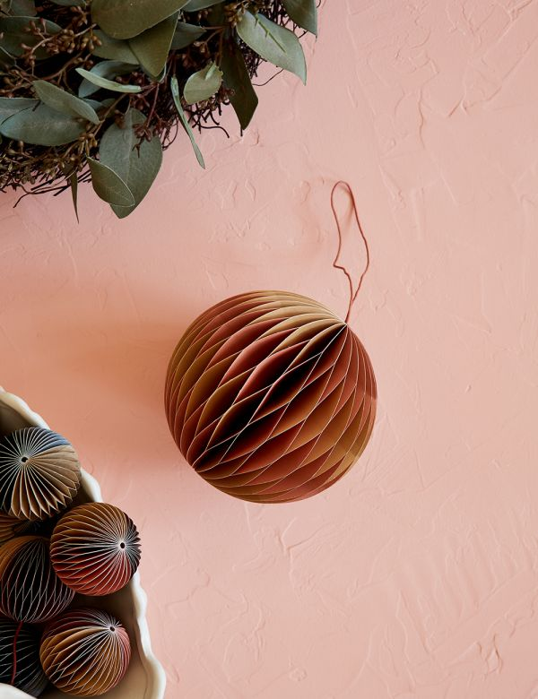 Large Indian Tan & Dusty Pink Honeycomb Christmas Decoration
