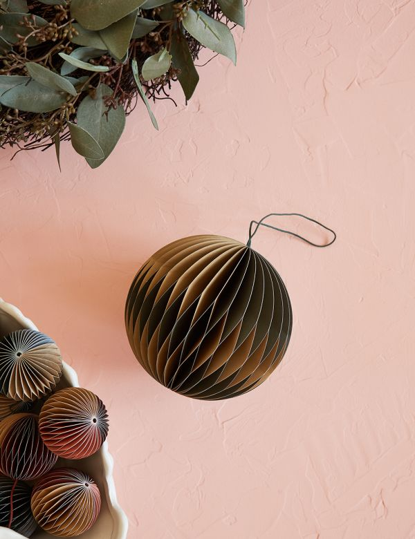 Large Indian Tan & Forest Green Honeycomb Christmas Decoration