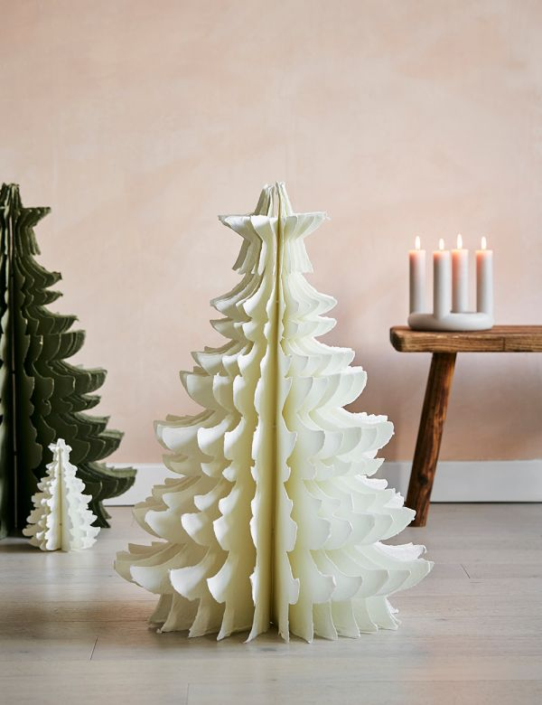 Large Ivory Standing Paper Pulp Christmas Tree