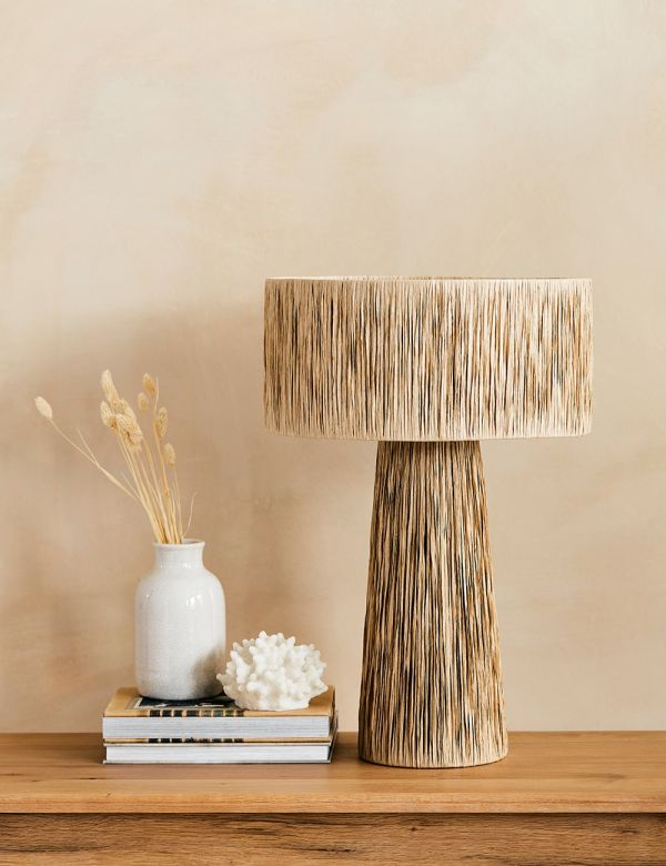 Large Natural Raffia Table Lamp