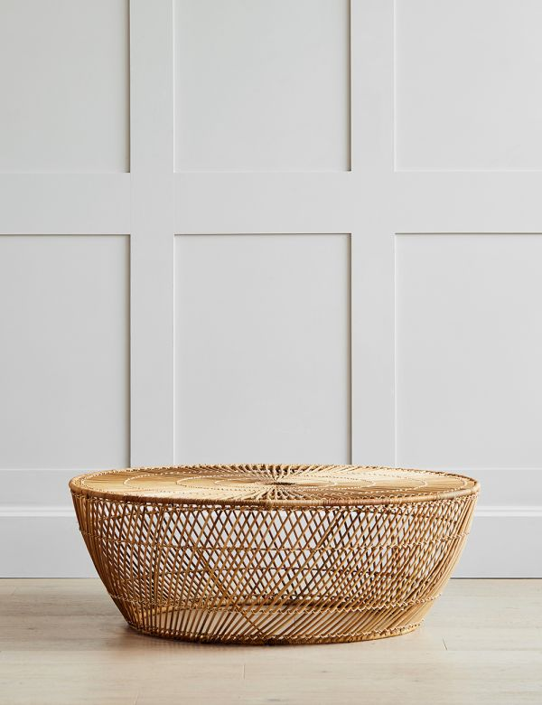 Large Wicker Basket Coffee Table