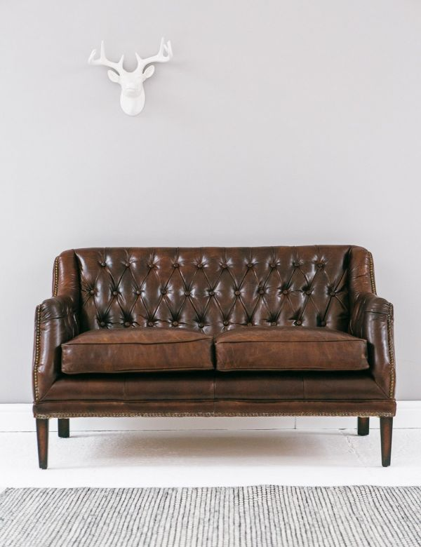 Vintage Leather Button & Stud Sofa image