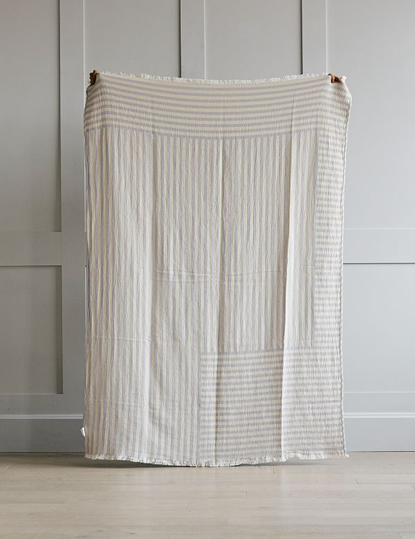 Lilac Organic Cotton Striped Throw