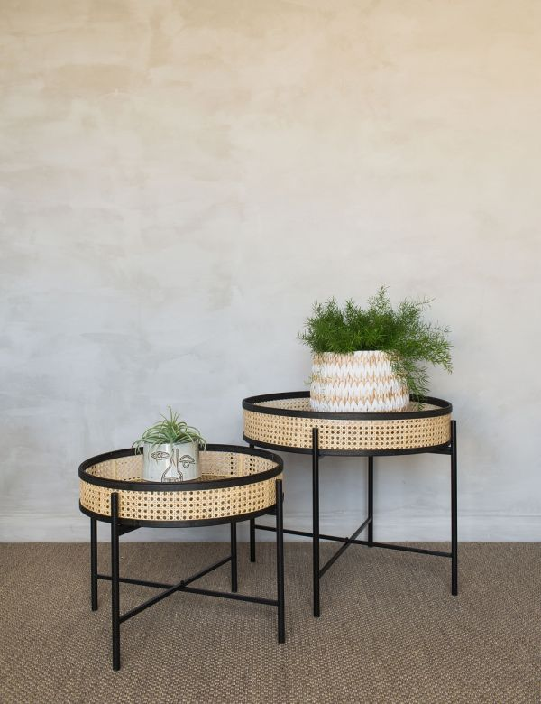 Lizzie Set of Two Rattan & Iron Side Tables