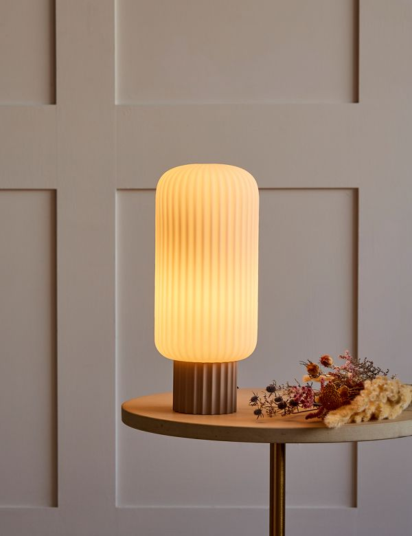 Lolly Beige Opal Glass Table Lamp - Tall