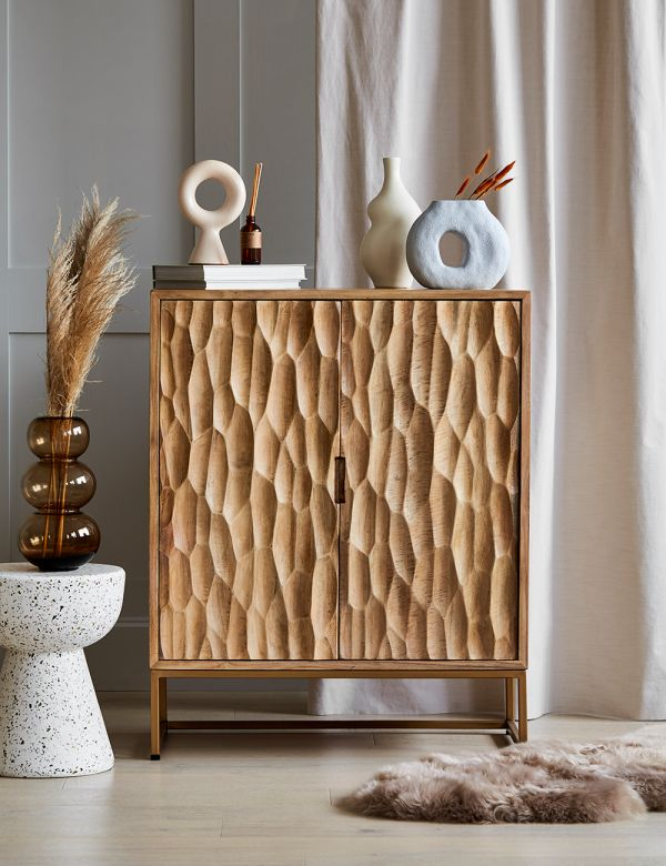 Mango Wood and Brass Textured Cabinet