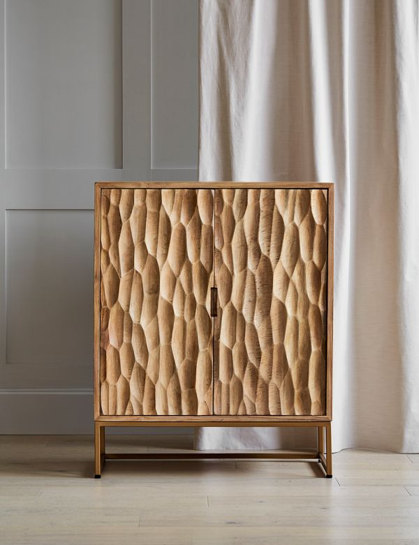 PREORDER Mango Wood and Brass Textured Cabinet
