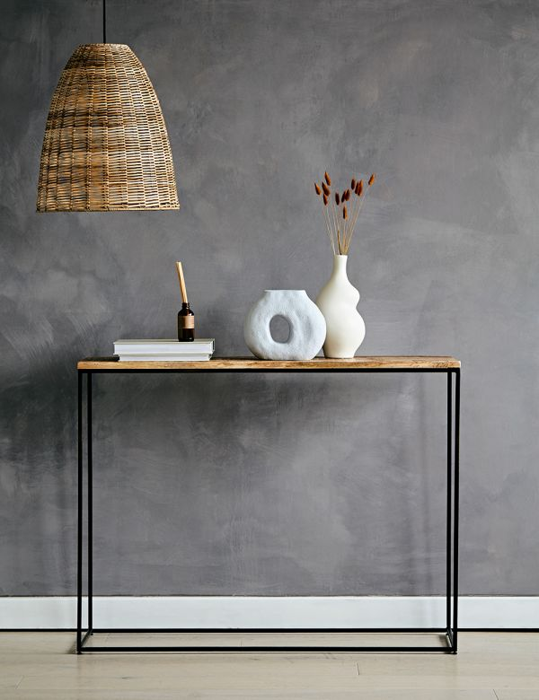 Mango Wood and Iron Console Table