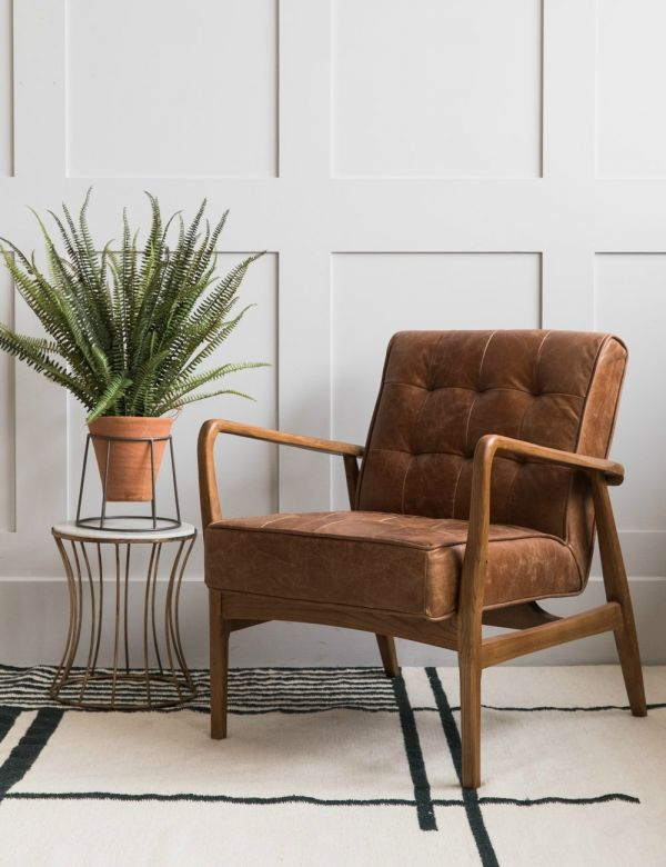 Mid-Century Button-and-Stud Brown Leather Armchair