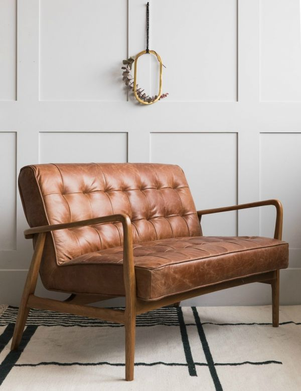 Mid-Century Button-and-Stud Brown Leather Two Seater