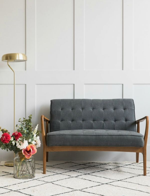 Mid-Century Button-and-Stud Linen Two Seater