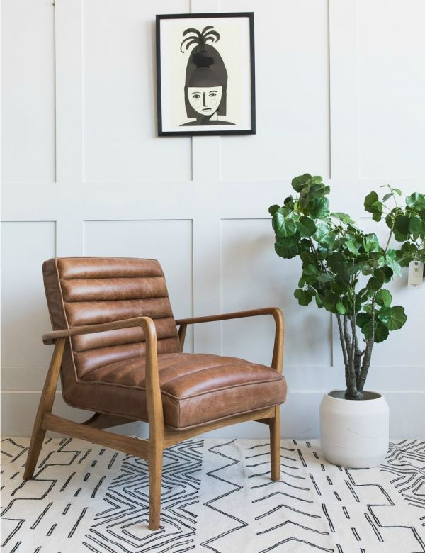 Mid-Century Leather Armchair - Brown