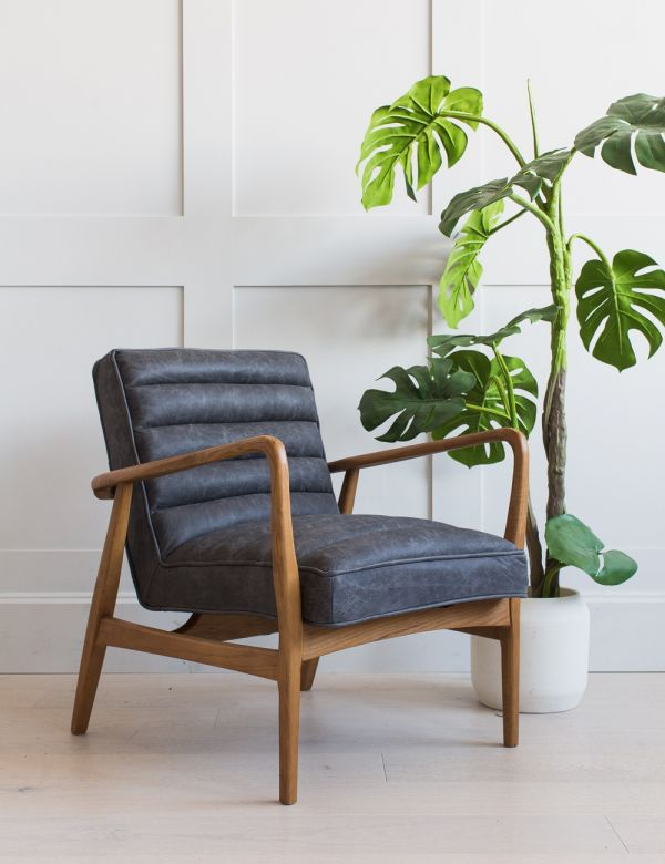 Mid-Century Leather Armchair - Black