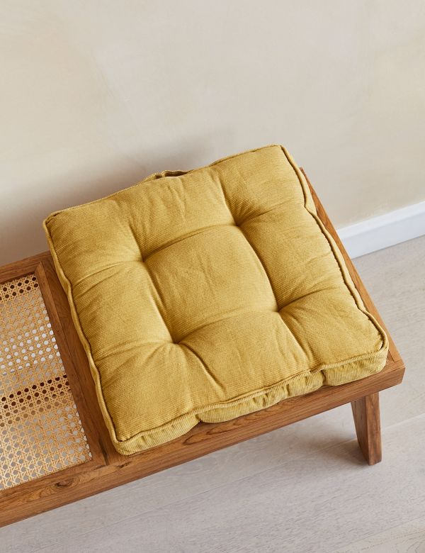 Mustard Corduroy Chair Cushion