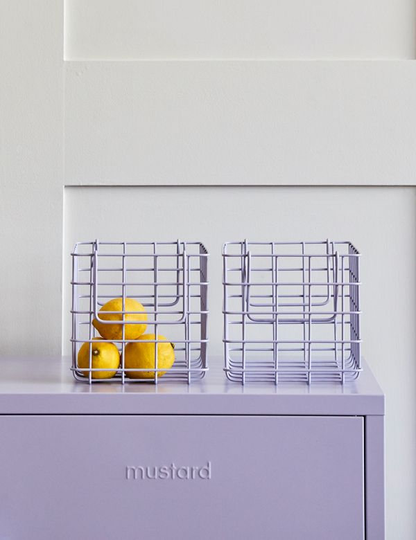 Mustard Made Lockers - Set of Three Wire Baskets - Lilac