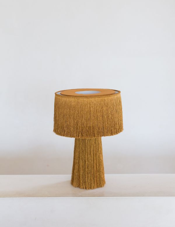 Mustard Tasseled Table Lamp