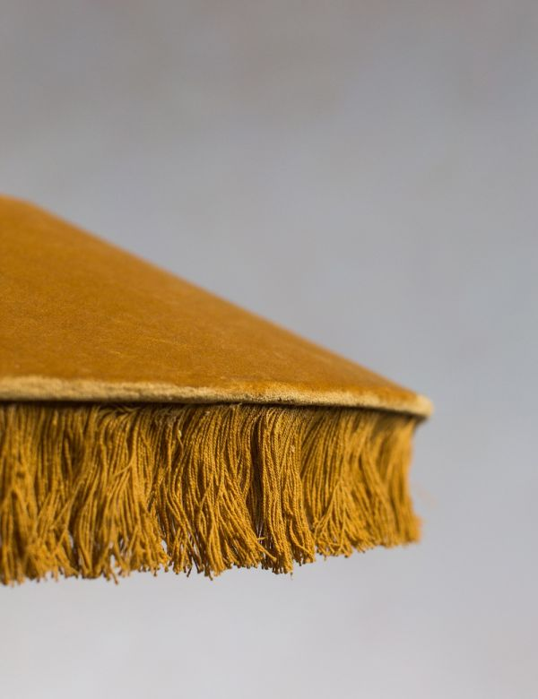 Mustard Velvet Fringed Lamp Shade