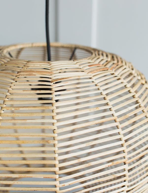 Noko Wicker Round Pendant - Natural - Two Sizes Available