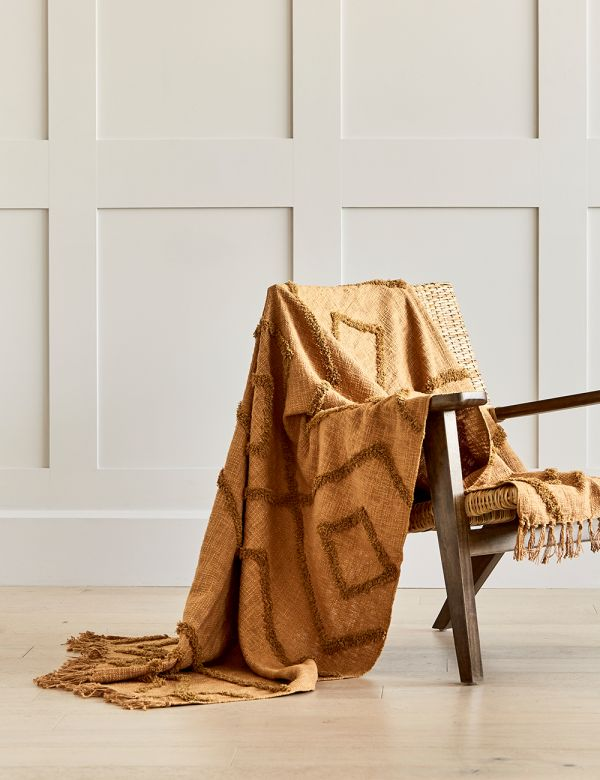 Nude Cotton Fringed Throw