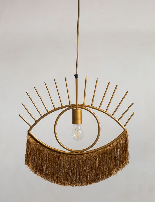 Ochre Tasseled Eye Pendant Light
