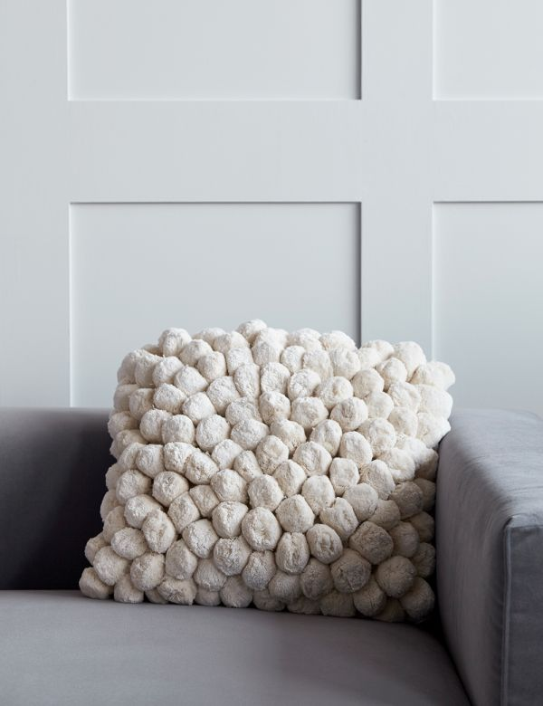 Off White Pom Pom Cushion