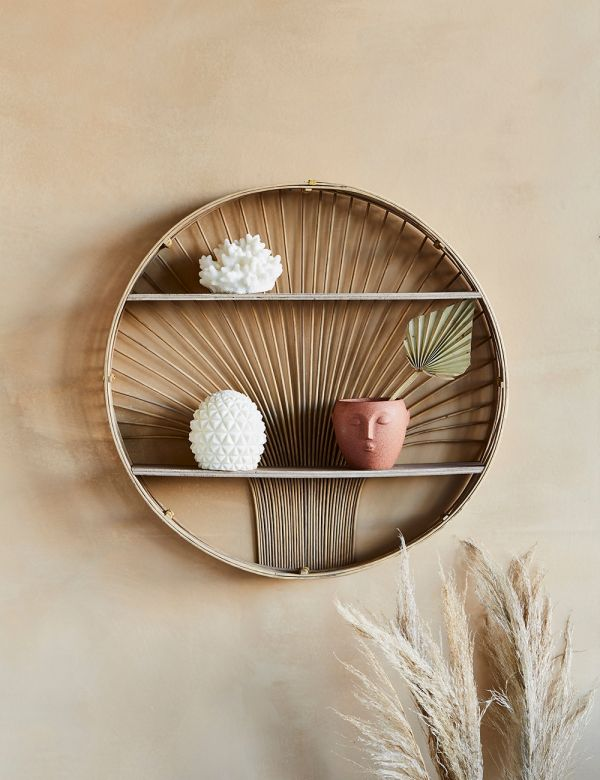 Ornate Round Rattan Shelf