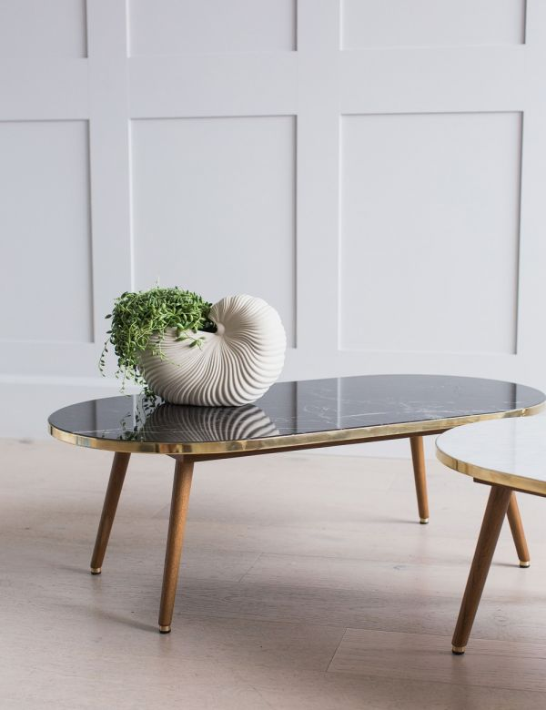H. Lis Fox Oval Marble & Wood Coffee Table