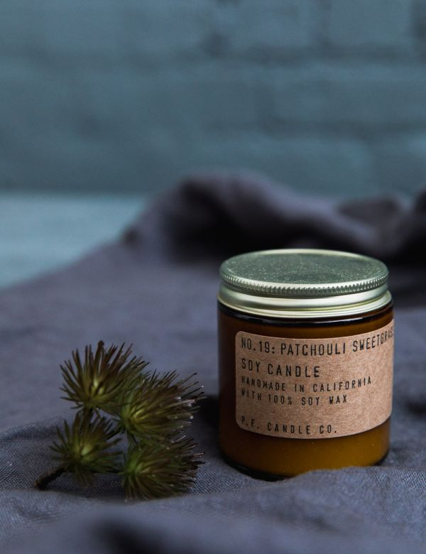P.F Candle Co. No. 19 Patchouli Sweetgrass Small Soy Candle