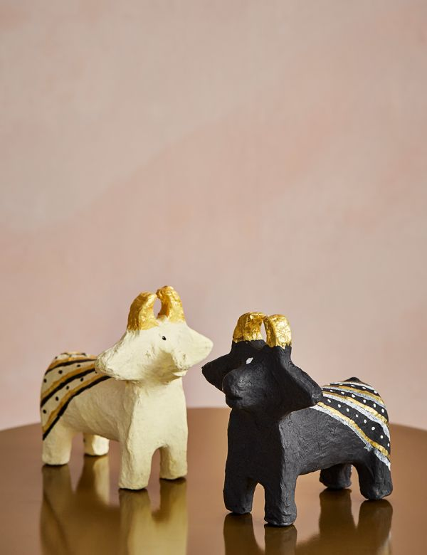 Paper Pulp Cow Decorations - Set of Two