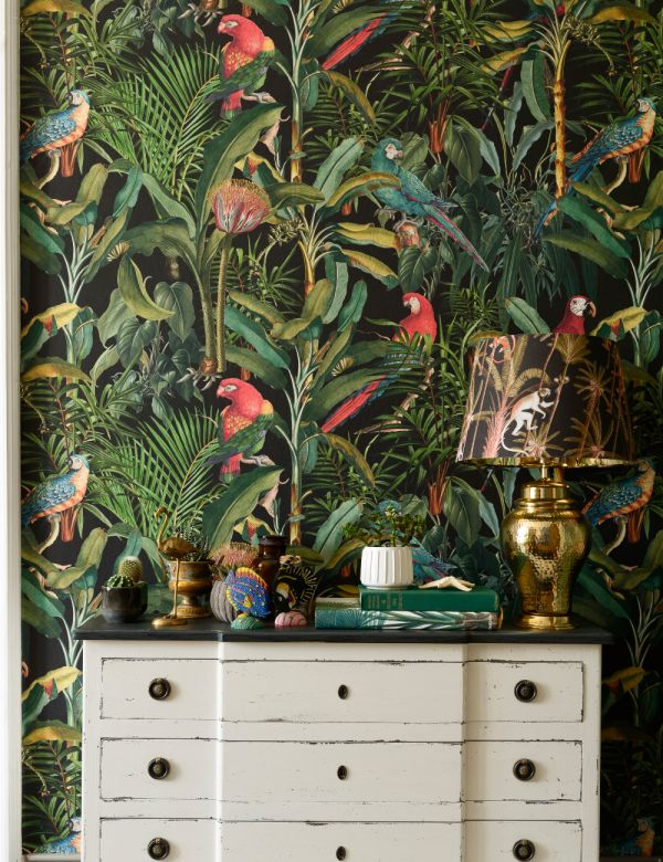 Mind The Gap Wallpaper Collection - Parrots of Brasil Anthracite