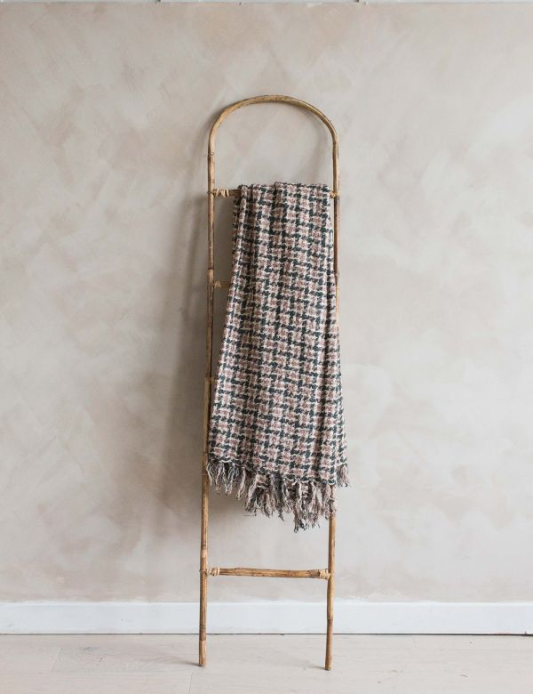 Pink Checked Wool Throw