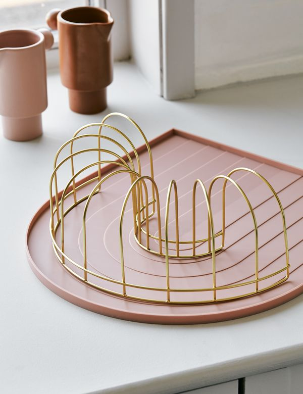 Pink Rainbow Dish Tray with Brass Drainer from above