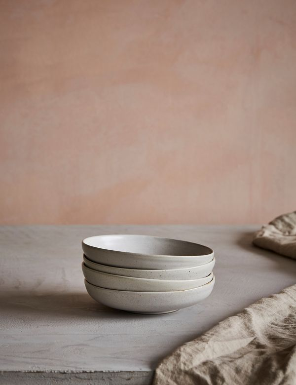 Pion White Speckled Porcelain Shallow Bowl