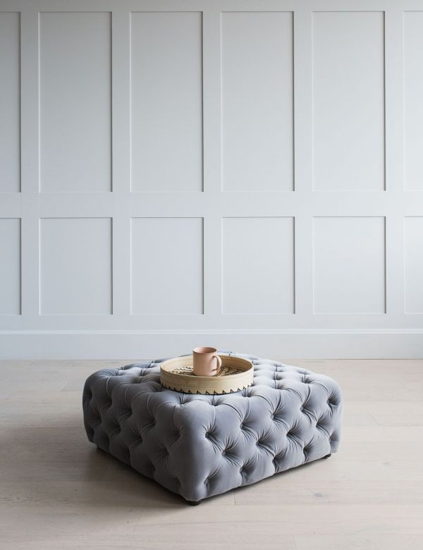 Polly Pouffe in Platinum Velvet