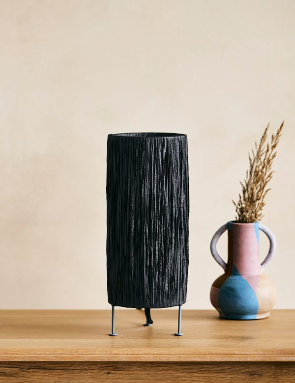 Raffia Black Table Lamp