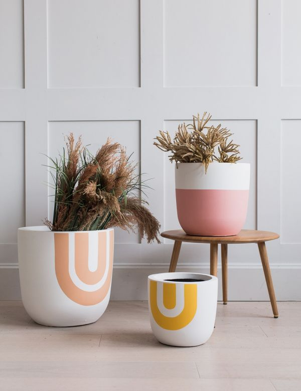 Rainbow Print Fibre Clay Plant Pots by Pow Pots - Three Sizes Available