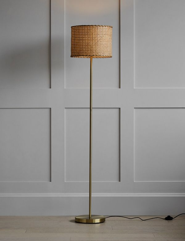 Rattan & Brass Floor Lamp