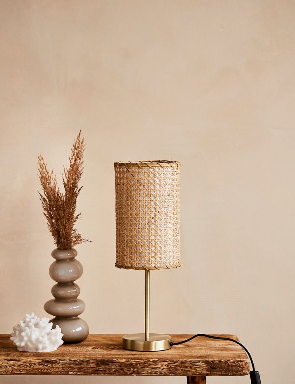 Rattan & Brass Table Lamp