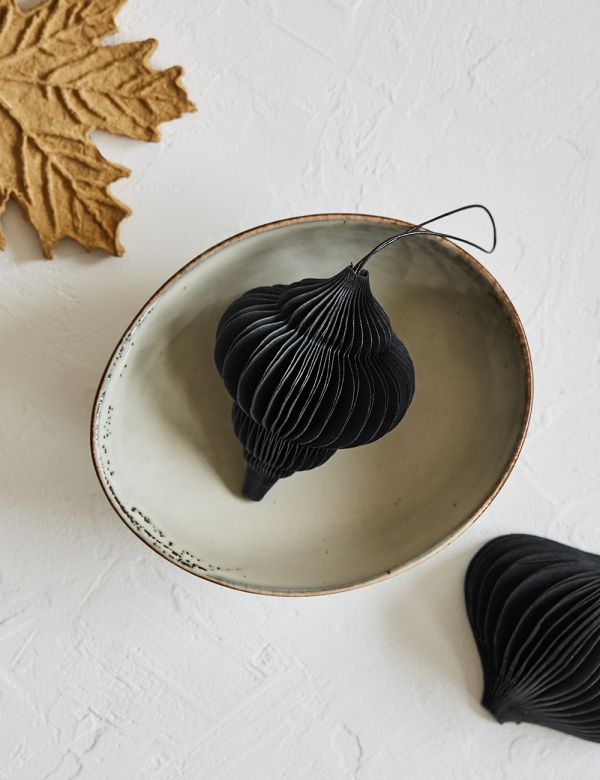 Recycled Cotton Paper Jewel Ornament - Black