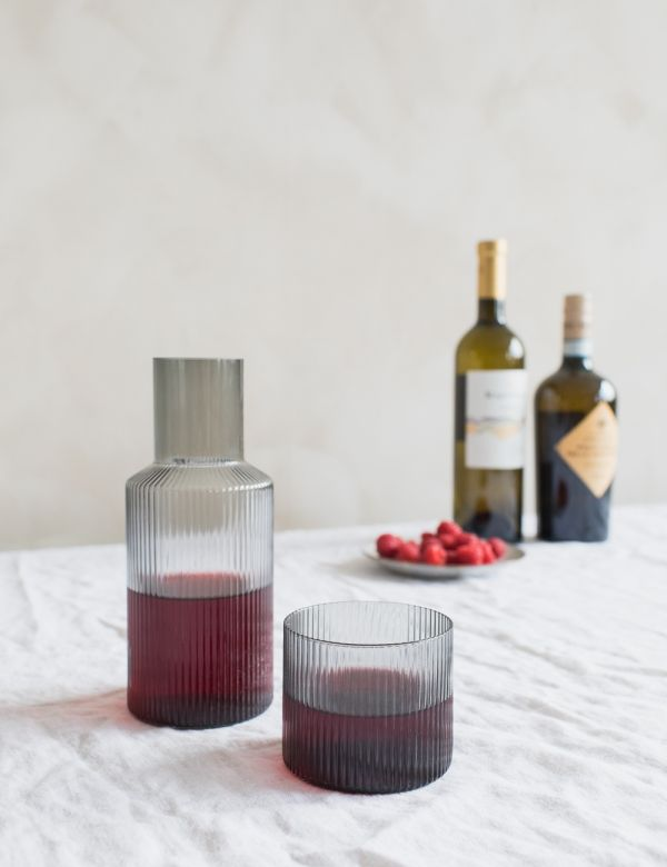 Ferm Living Ripple Smoked Grey Small Carafe