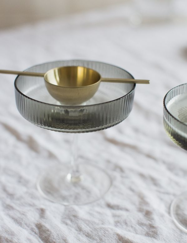 Ferm Living Ripple Smoked Grey Champagne Saucers - Set of Two