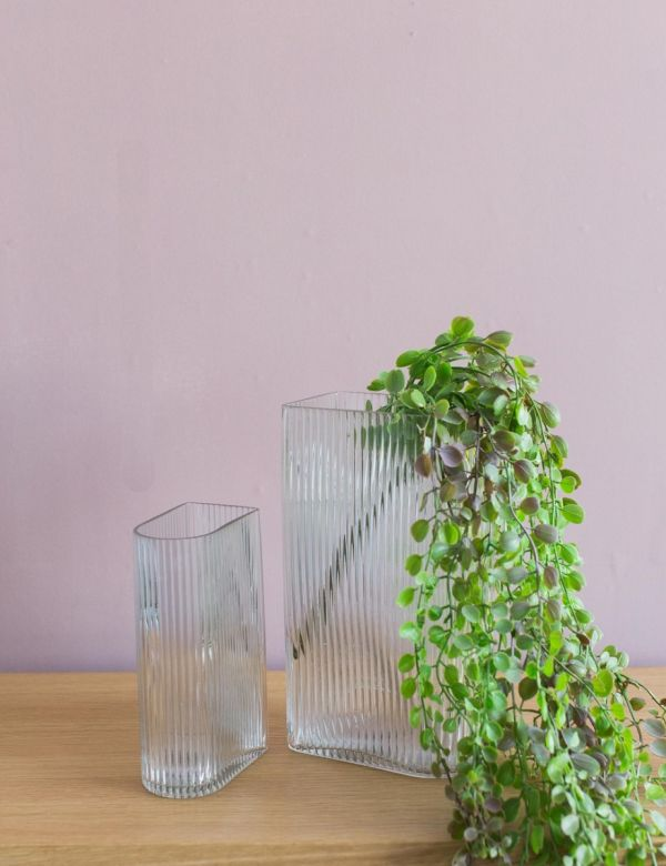Ribbed Glass Vases - Set of Two
